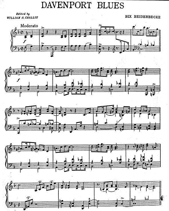 Learning Blues Piano From Music Score: Bix Beiderbecke Jazz Candlelights Davenport Blues Piano